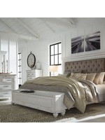 ASHLEY KANWYN QUEEN UPHOLSTERED PANEL BED WITH STORAGE FOOTBOARD BENCH WHITEWASH