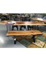 TIN ROOF RED OAK TABLE W/ HAIRPIN LEGS