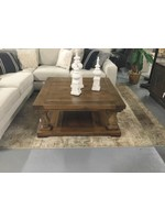 TIN ROOF SQUARE COFFEE TABLE W/ SPOOLS