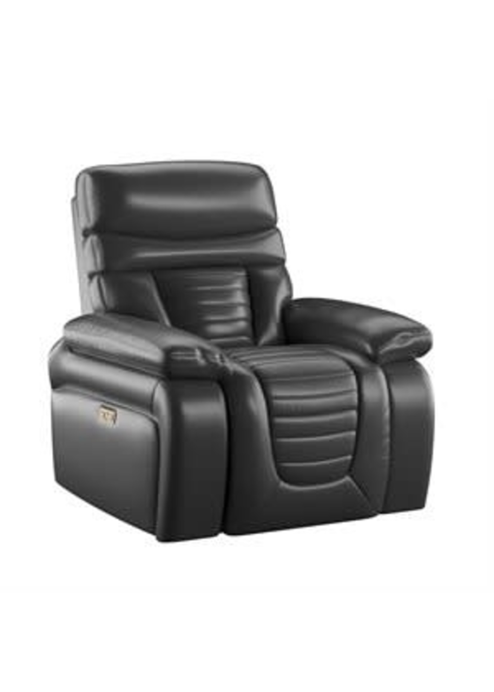 EMERALD HOME GEORGE POWER RECLINER BLACK TOP GRAIN LEATHER