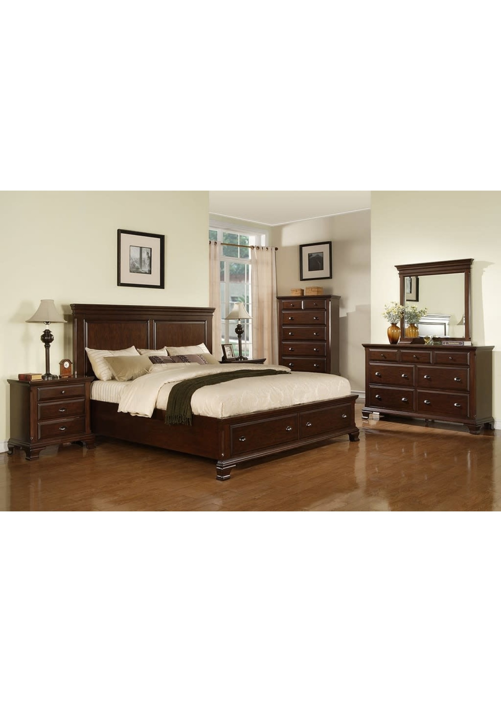 ELEMENTS KING STORAGE BED CANTON CHERRY
