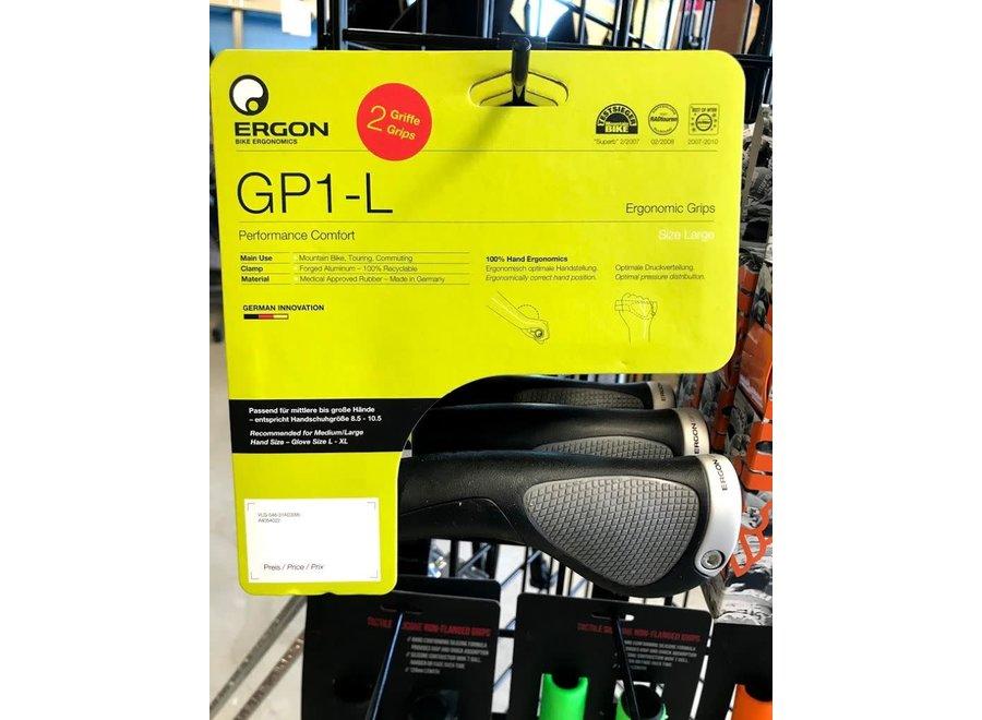 Ergon GP1 Grips - Black/Gray, Lock-On, Large