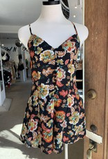 Black Flower Button Romper