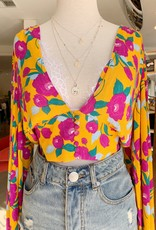 Signature 8 Mustard Floral Bell Sleeve Top