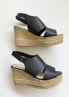 Refresh Black Wedge Sandal