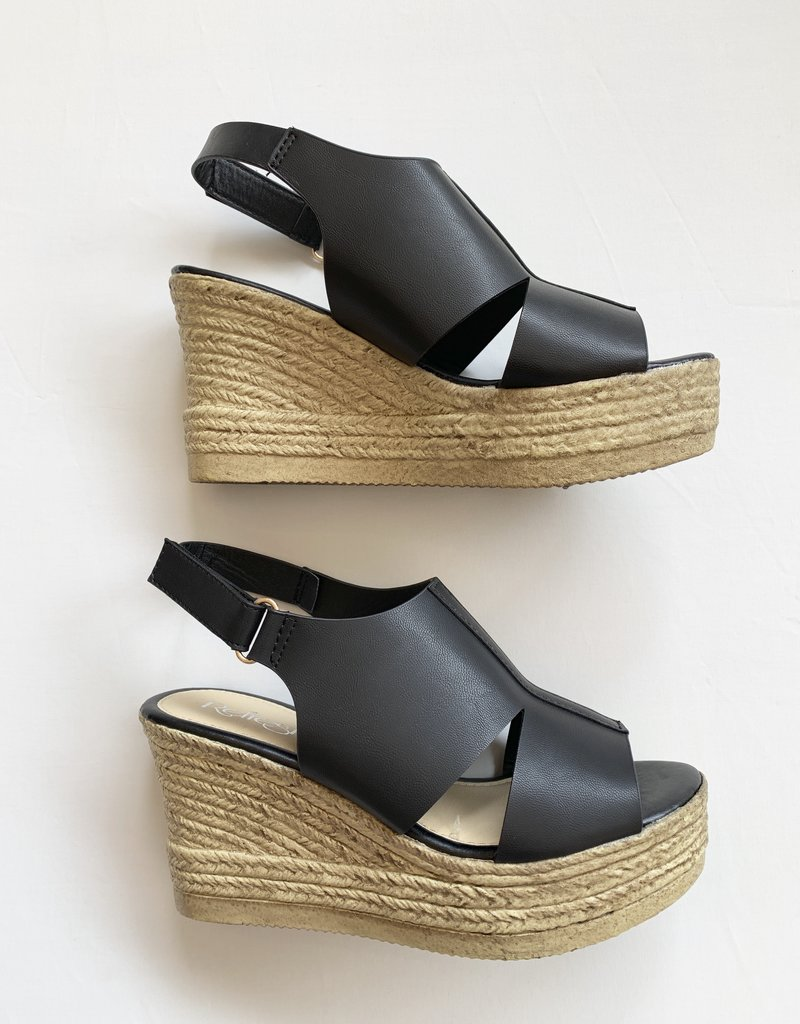 Refresh Black Wedge Sandal