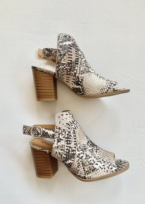 Qupid Snake Print Bootie