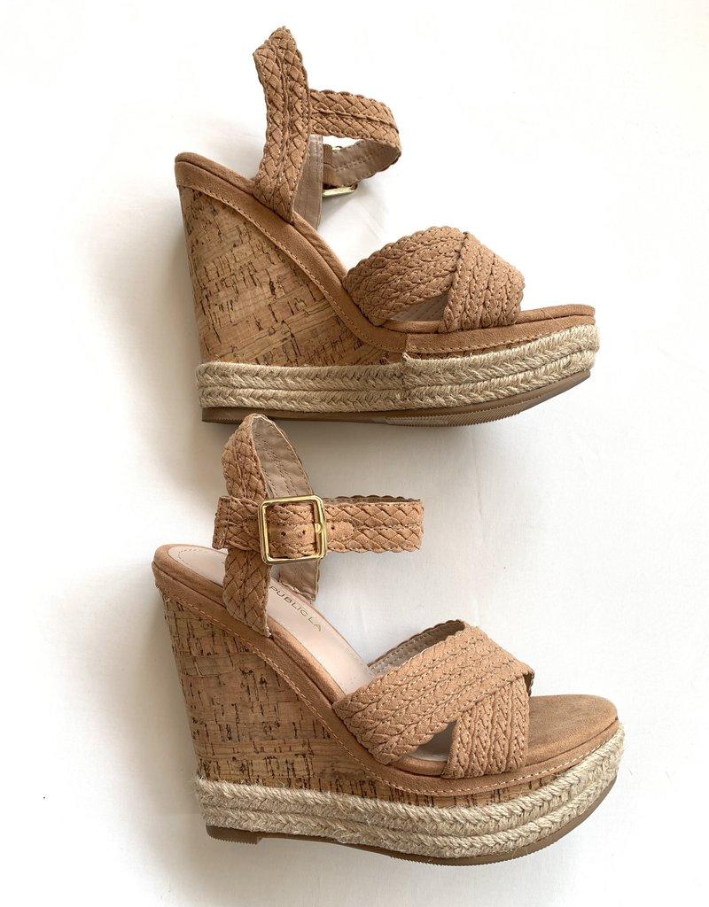 Shoe Republica Nude Braided Wedge