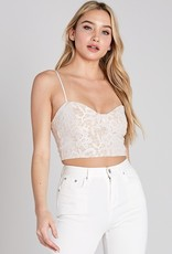 Bow N Arrow Lace White Crop Top