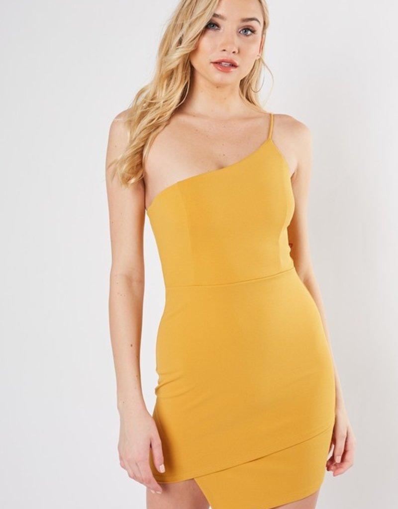 Bow N Arrow One Shoulder Mustard Dress
