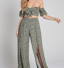 Bow N Arrow Olive Leaf Wide Pant