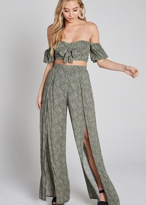 Bow N Arrow Olive Leaf Wide Pant