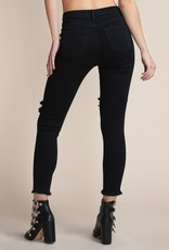 Bow N Arrow Black High Rise Distress Jeans