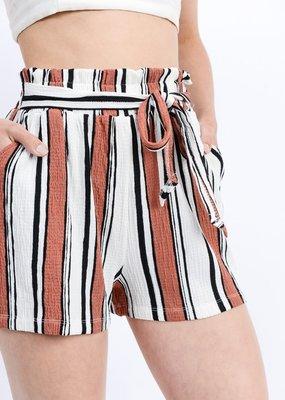 Love Tree Stripe Paper Bag Shorts