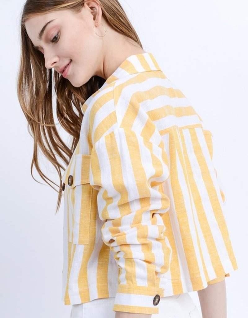 Love Tree Yellow Stripe Denim Jacket
