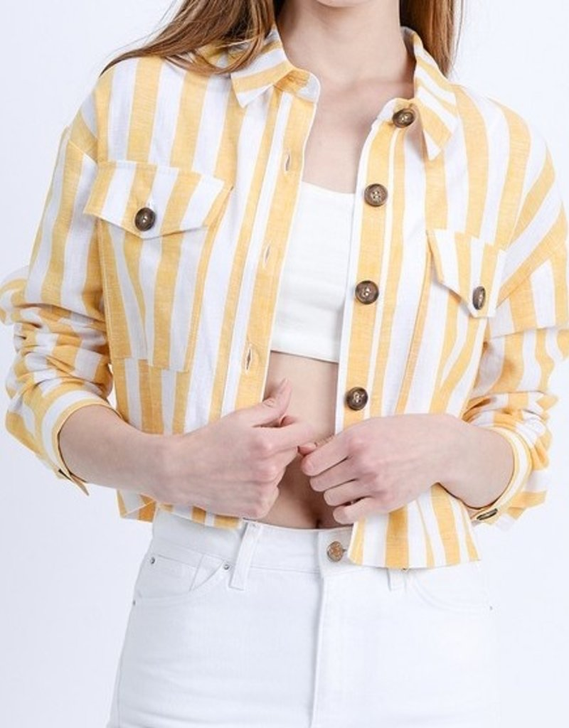 Love Tree Yellow Stripe Denim Jacket