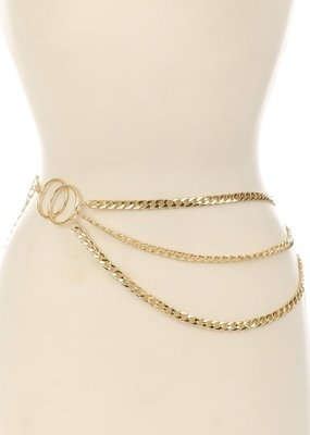 Bow N Arrow Gold Chain Circle Belt