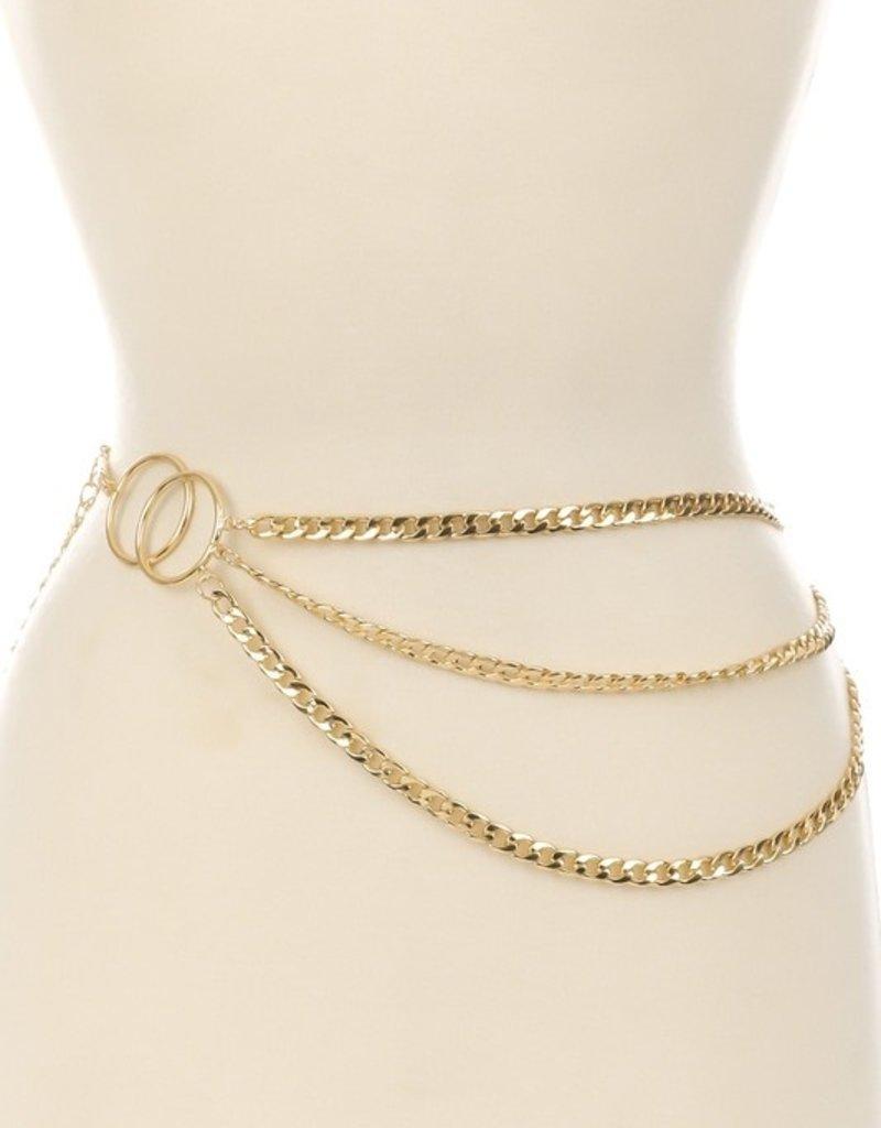Bow N Arrow Gold Chain Circle Belt