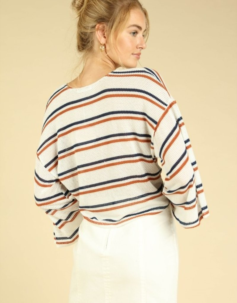Bow N Arrow Stripped Knit Front Tie Top