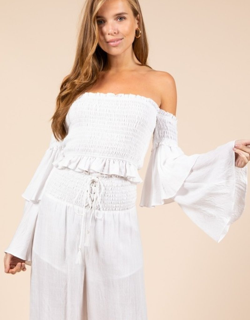 Bow N Arrow White Off-Shoulder Long Sleeve