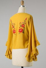 Bow N Arrow Embroidered Bell Sleeve Top