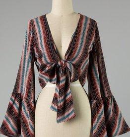 Bow N Arrow Black Print Front Tie Top