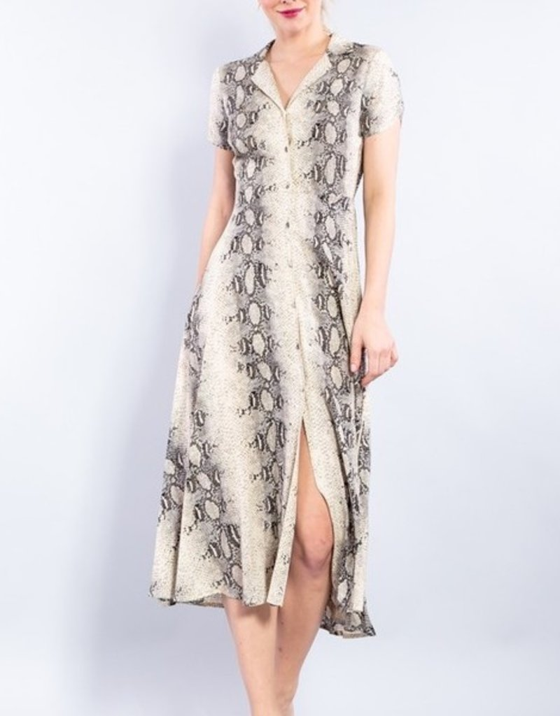 Bow N Arrow Snake Print Button Dress