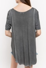Bow N Arrow U-neck Reverse Knit Top