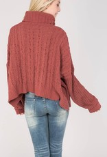 Bow N Arrow High Low Cable Knit Turtle Neck Sweater