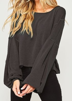 Bow N Arrow Knit Bubble Sleeve Top