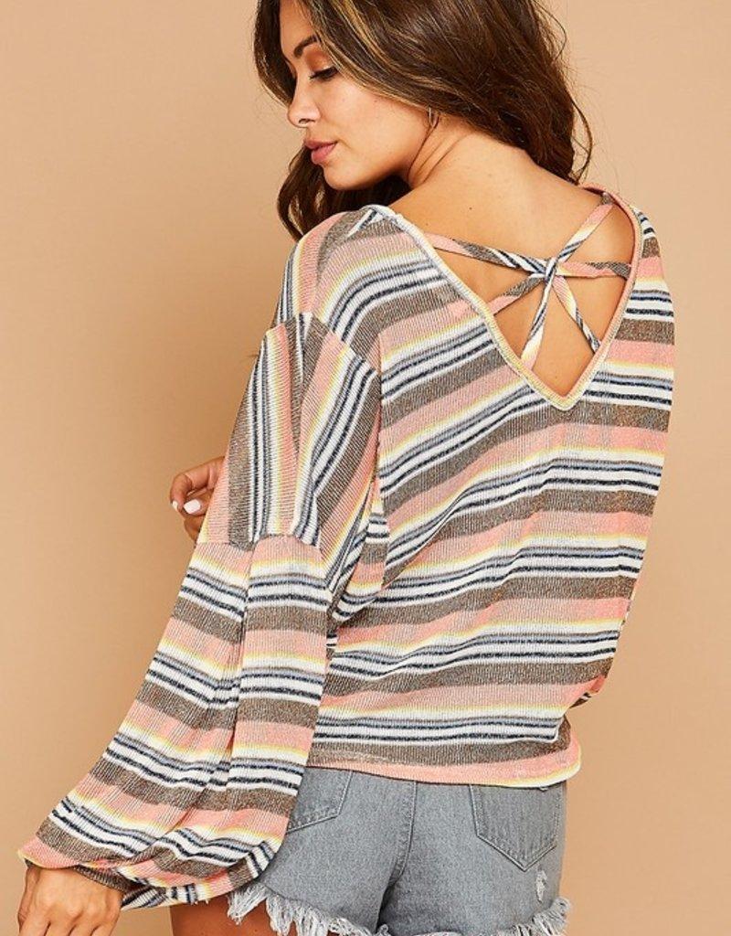 Bow N Arrow Knit Bubble Sleeve Top