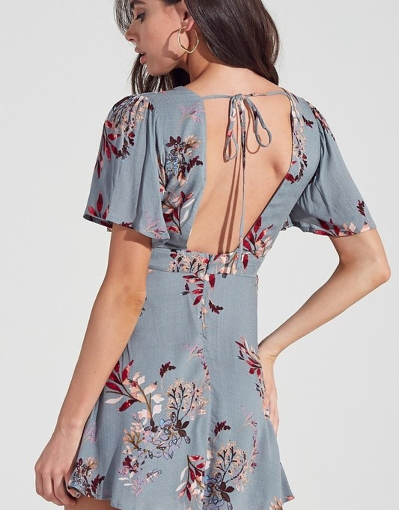 Bow N Arrow Blue/Grey Floral Dress