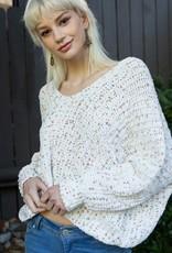 Bow N Arrow Confetti Off Shoulder Sweater