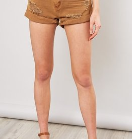 Bow N Arrow Caramel Distressed Shorts
