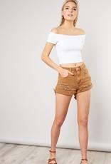 Bow N Arrow Caramel Distressed Shorts