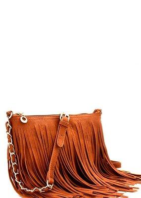 Bow N Arrow Tan Fringe Crossbody Bag
