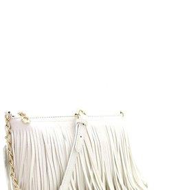 Bow N Arrow White Fringe Crossbody Bag