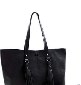 Bow N Arrow Black Tassel Tote Bag