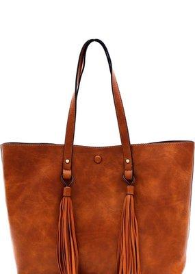 Bow N Arrow Brown Tassel Tote Bag