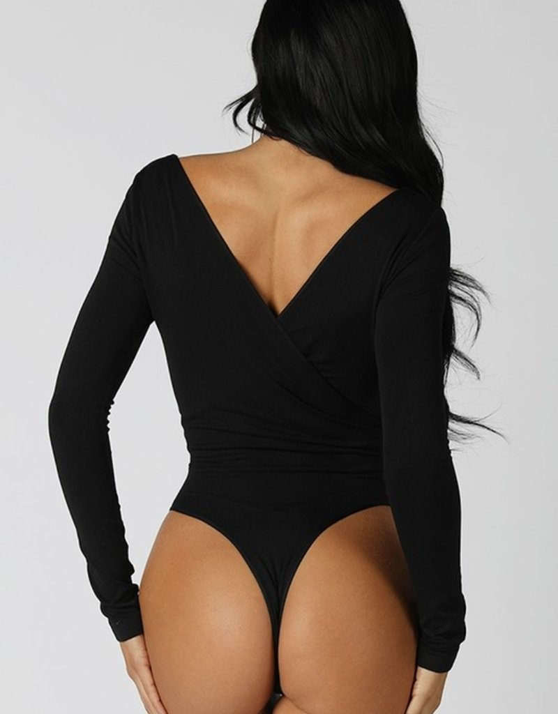 Bow N Arrow Black Wrap Long Sleeve Bodysuit