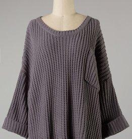 Bow N Arrow Charcoal Cuffed Chunky Sweater