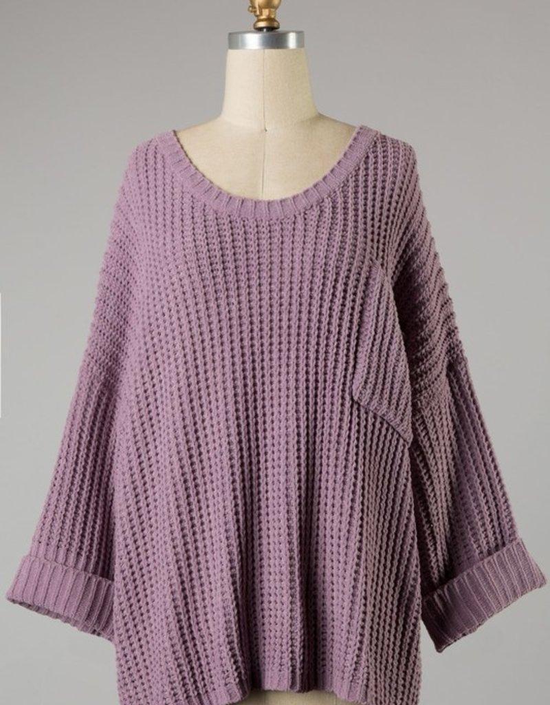 Bow N Arrow Mauve Cuffed Chunky Sweater
