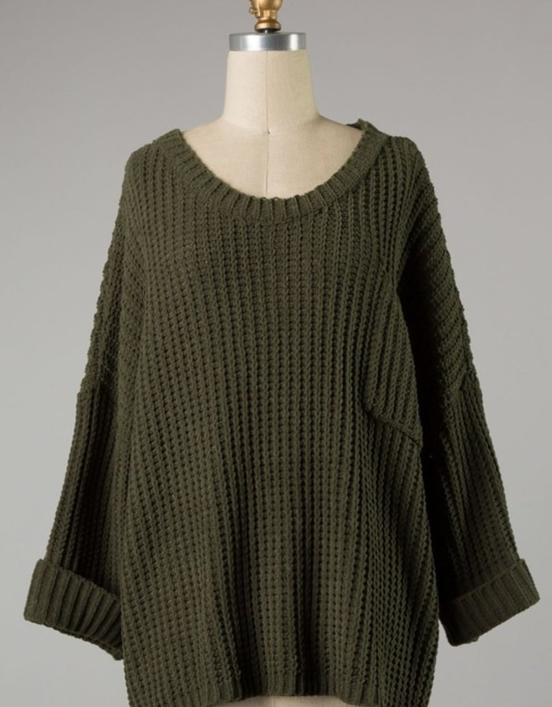 Bow N Arrow Olive Cuffed Chunky Sweater