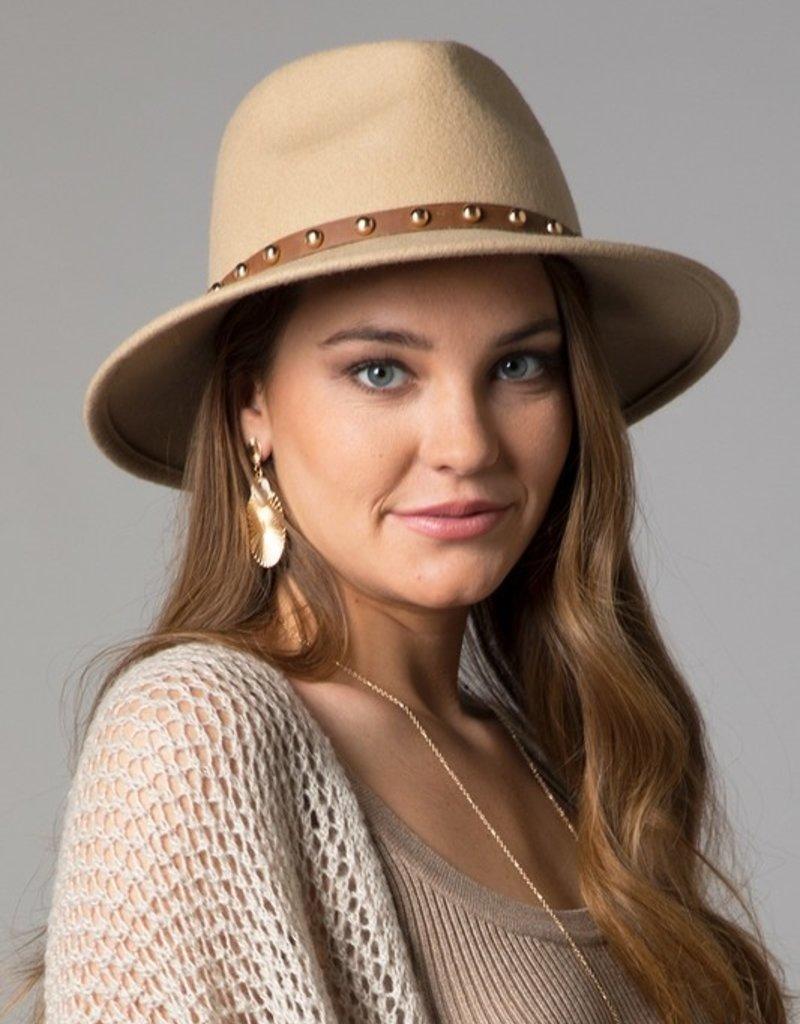 Bow N Arrow Beige Gold Studded Brim Hat