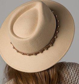 Bow N Arrow Beige Studded Brim Hat
