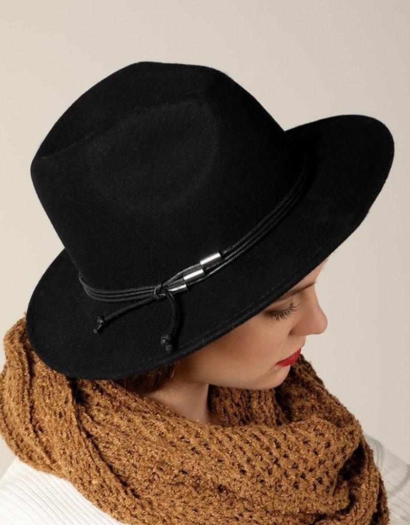 Bow N Arrow Black Structured Felt Hat
