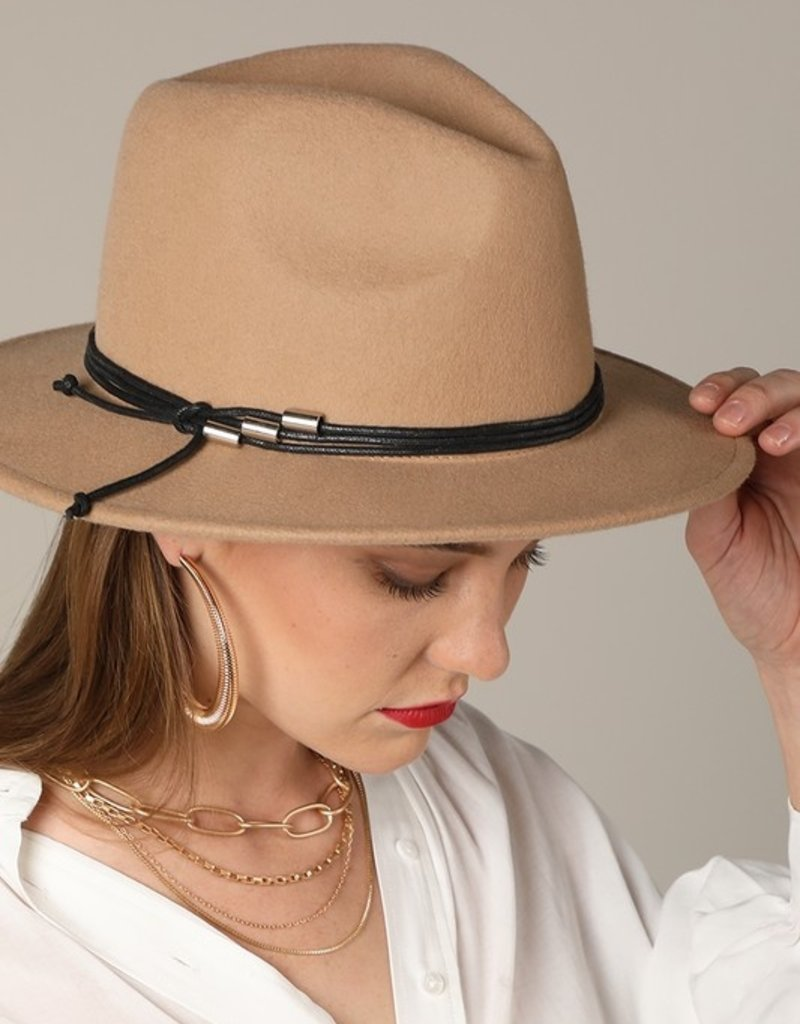 Bow N Arrow Beige Structured Felt Hat