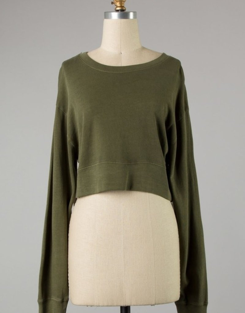 Bow N Arrow Olive Worn Out Top