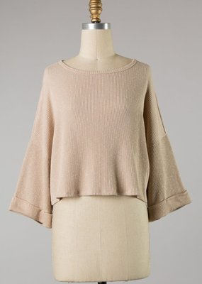 Bow N Arrow Taupe Ribbed Crop Top