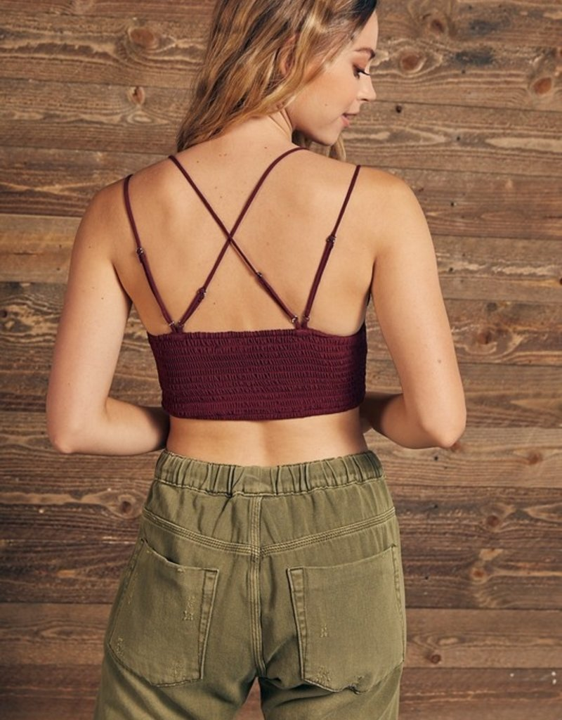 Bow N Arrow Wine Burnout Velvet Crop Top